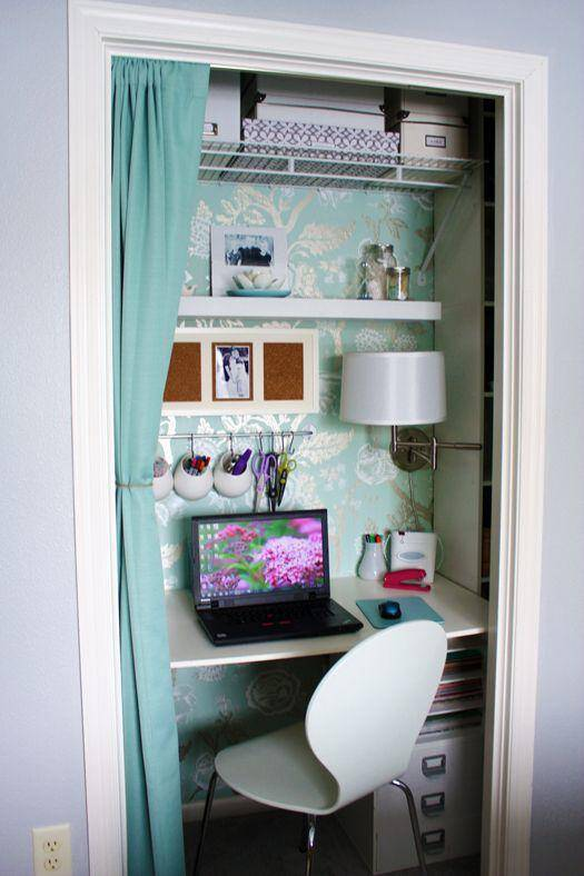 Desk space in the closet!