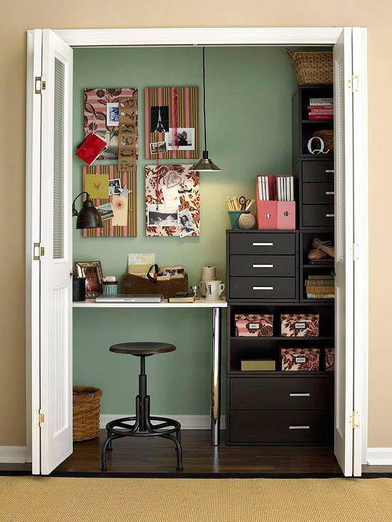"Nothing beats a ""cloffice."" Never underestimate the power to hide your desk-mess behind closed doors!"