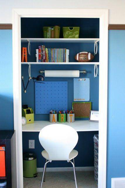 closet turned desk