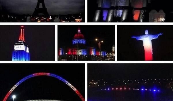 Ο πλανήτης πενθεί! Κτίρια φωτίστηκαν στα χρώματα της γαλλικής σημαίας για να τιμήσουν τα θύματα