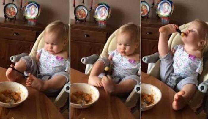 Θα σου λιώσει την καρδιά: Κοριτσάκι που γεννήθηκε χωρίς χέρια τρώει μόνο του για πρώτη φορά και ρίχνει το Facebook! (Video)