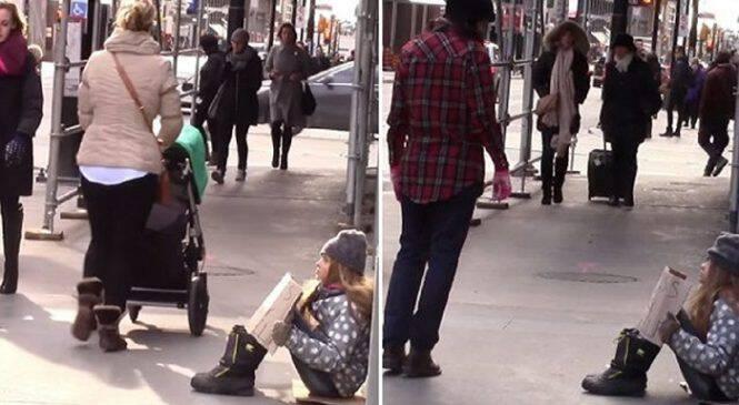 Κοινωνικό πείραμα: Μικρό κορίτσι παριστάνει την άστεγη κι ο μόνος άνθρωπος που σταματά να το βοηθήσει είναι μια επίσης άστεγη γυναίκα