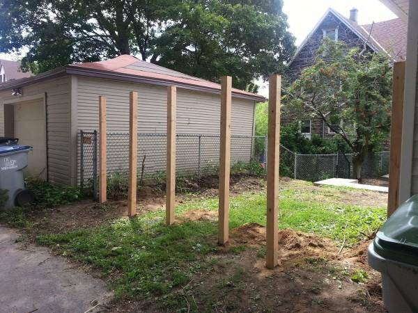 He picked Douglas fir as his wood of choice and cemented several 4x4s into the ground.