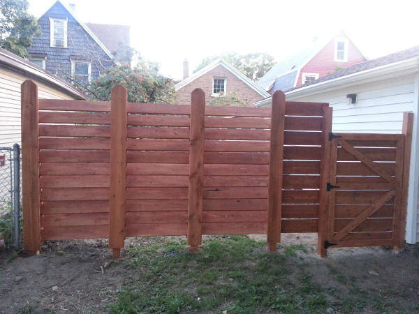 He stained the fence and used Waterlox to make sure the finished project would be waterproof.