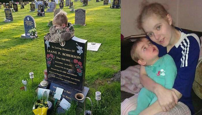 Αγόρι 7 ετών αγκαλιάζει τον τάφο της μαμάς του που έχασε από καρκίνο τραχήλου της μήτρας όταν ήταν μόλις ενός έτους