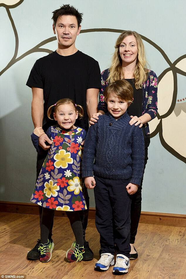 Leafy, pictured here with her parents and brother Rudy, 7,  has eaten two avocados – which are high in good fats – a day for the last 4 years