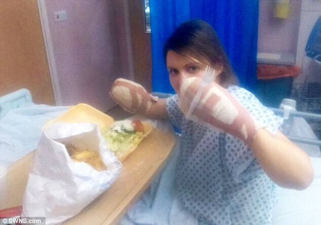 Magdalena (pictured eating in hospital) had to wait six months for surgery to amputate her limbs, and had to return to hospital three times a week for dialysis, with each session lasting up to four hours.