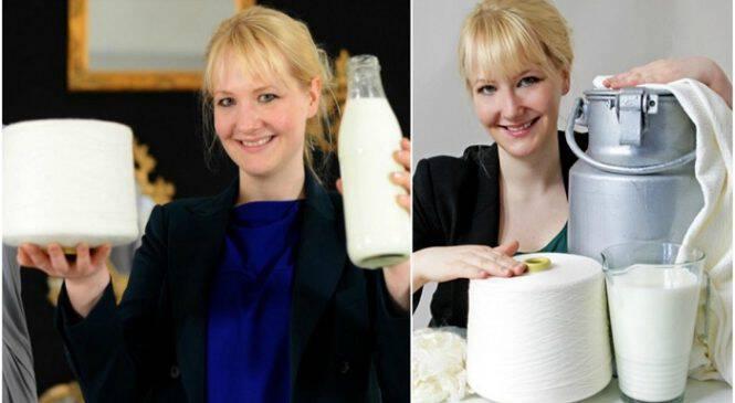 Σχεδιάστρια μόδας φτιάχνει ρούχα από ληγμένο γάλα