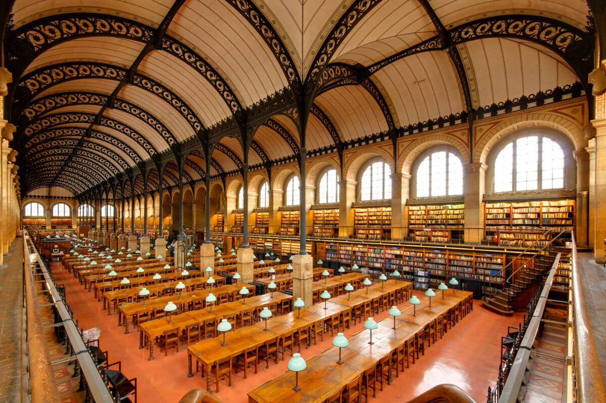 The Bibliothèque Sainte-Geneviève in Paris, France.