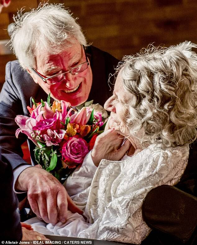 Colin Jones, 74, met girlfriend Pauline Young, 72, in 1976 and they fell in love 'hook, line and sinker'. They finally got married after 43 years together when Pauline popped the question