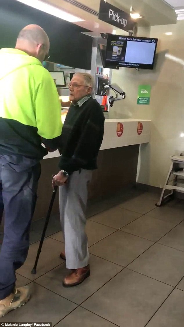 Dave catches up with the pensioner and gives him $20 saying ' that's for your next coffee'