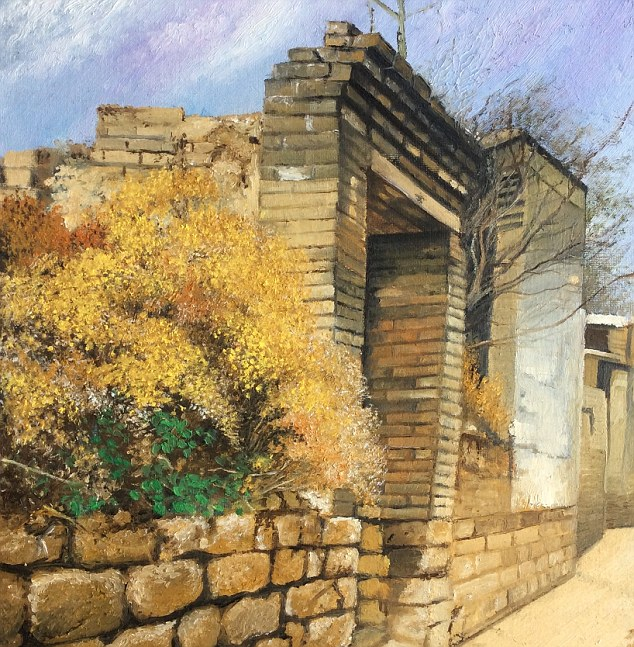 One of Zhang's favourite work, called 'Front Door of my Home' (pictured) was completed by the artist in April. It depicts the house that her father had lived in when he was younger